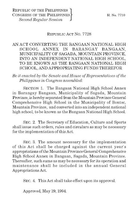 RA 7728: Bangaan National High School