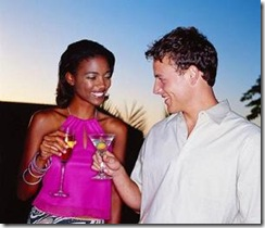 interacial couple having drinks