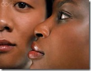 Interracial Black woman looking at Asian man