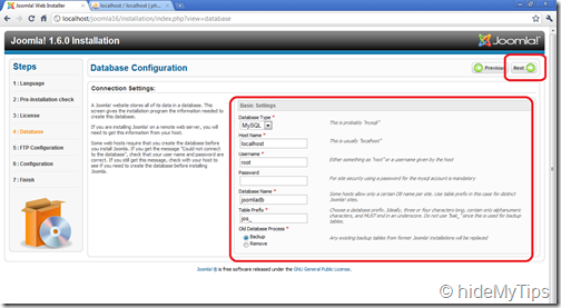 Joomla Installation 1.6  Database Configuration