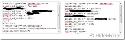 adsense code and parsed code