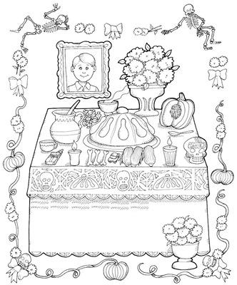 Altar de muertos para colorear
