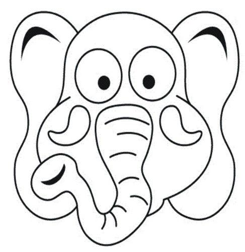 Máscaras para imprimir y colorear de elefante