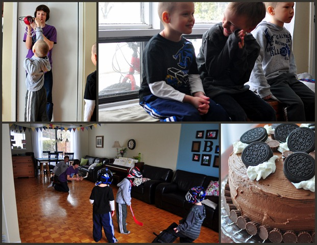 Joel's b-day party: hockey and basketball in the living room, Oreo cake, two sweet friends, and two fun brothers!