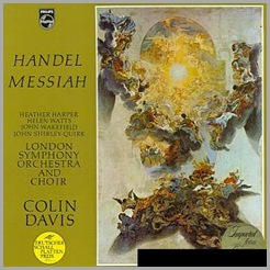 Cover of the original Philips LP edition of Sir Colin Davis' recording of MESSIAH, featuring Helen Watts