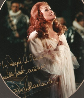 Dame Joan Sutherland as Lucia di Lammermoor, in an autographed photo presented to the author