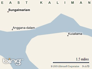 perkiraan lokasi jembatan Anggana-Kutai Lama