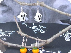 halloween ghost and pumpkin earrings 2