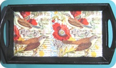 bird decoupaged tray