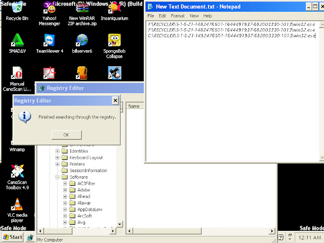 finish searching win32 by registry editor