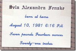 1981-08-10 Sela's Birth Announcement 2