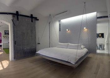 habitación,cama colgante, aceros, elegancia