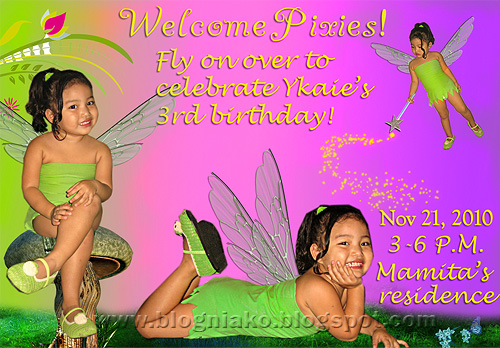 Preparing for ykaies tinkerbell themed birthday party 1 blog ni ako tinkerbell invitation layout stopboris Choice Image