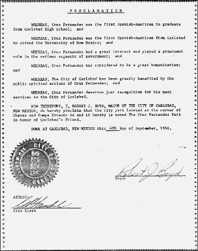 cruz_proclamation for cruz fernandez park_signed by mayor robert boyd_sept 4 1966