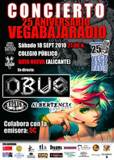 Cartel actuación Albertencia, OBUS y Magnum44 para el 18/9/2010 25 aniversario de Vega Baja Radio