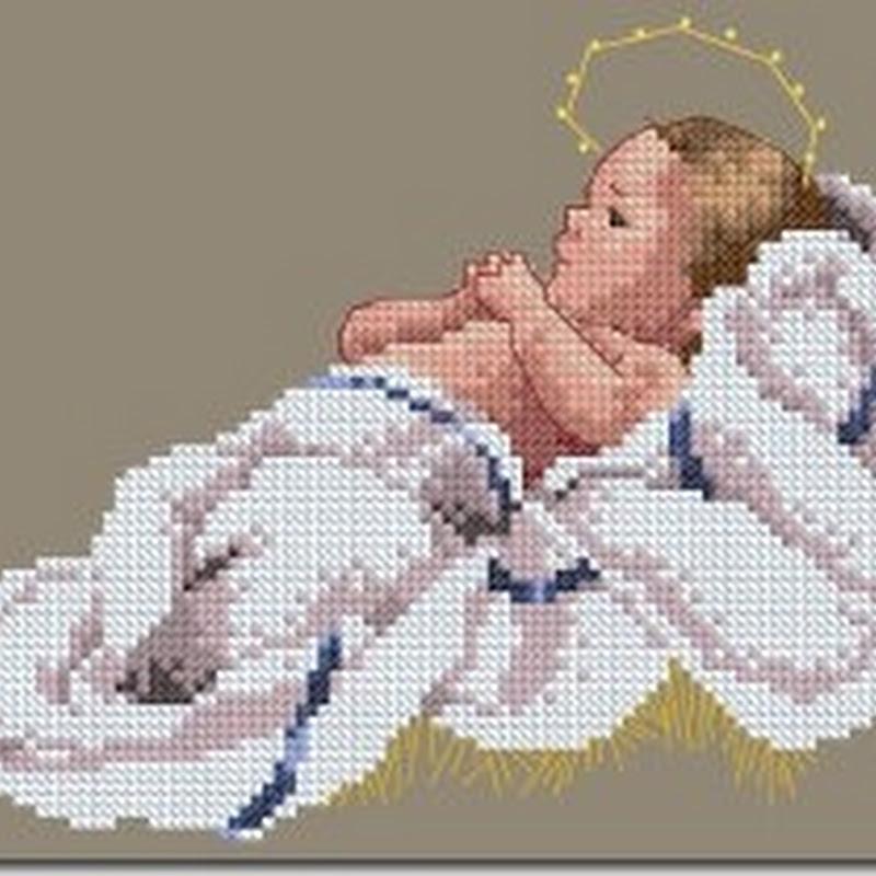 Niño Jesús en punto de cruz con patrones