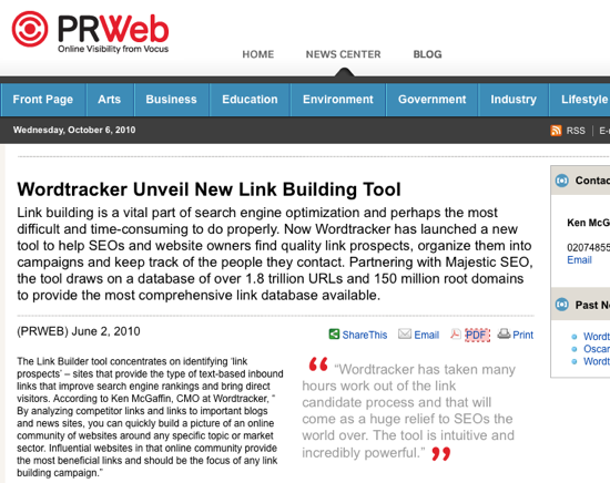 PRWeb release