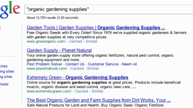 Ads for organic gardening supplies