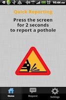 Screenshot of Pothole Alert 311