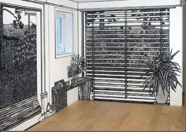 Arte em preto e branco com marcador em parede (2)