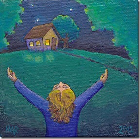 Awake.girl hugging house