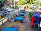 ラオス旅行記 メコン川沿いの屋外レストラン