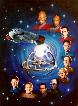 em sentido horário: Sisko, Worf, Kira, Bashir, Odo, Quark, Garak, Jake, O'Brien, Jadzia Dax