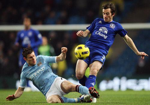 James Milner slide Leighton Baines, Manchester City - Everton