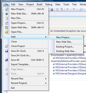 Go to File, Add, New Project