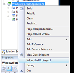 Right Click project in Solution Explorer, Set as StartUp Project