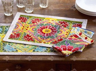 interior-decorating-Butterfly-Napkins-and-Place-Mats-Pottery-Barn-combined-vintage-Indian-textile-blocks-butterflies-and-flowers