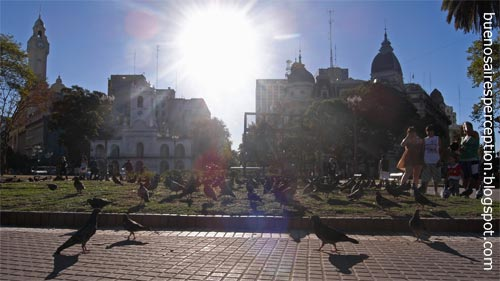 "Backlit shot of a bunch of tourists gazing at a crowd of pigeons at the ""Plaza de Mayo"" in Buenos Aires, Argentina"
