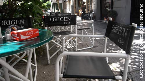 "Shady places of the ""Café Origen"" in the Peru Road at the corner of Humberto Primo in San Telmo, Buenos Aires"
