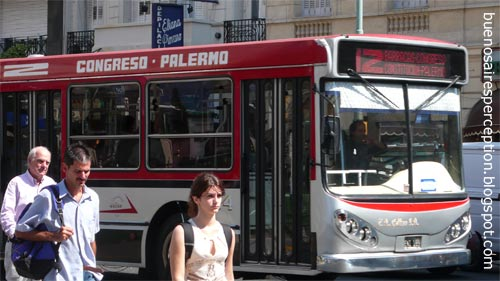 Colectivo Bus Line 12 in the Palermo neighborhood of Buenos Aires, Argentina