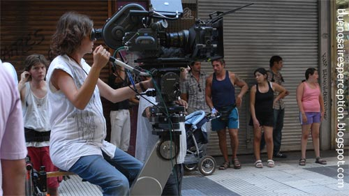 Motion picture shooting in the busy shopping street Calle Florída in Downtown, Buenos Aires
