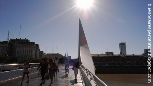 "The beautiful bridge ""Puenta de la Mujer"" by Santiago Calatrava at dock 3 in Puerto Madero, Buenos Aires"
