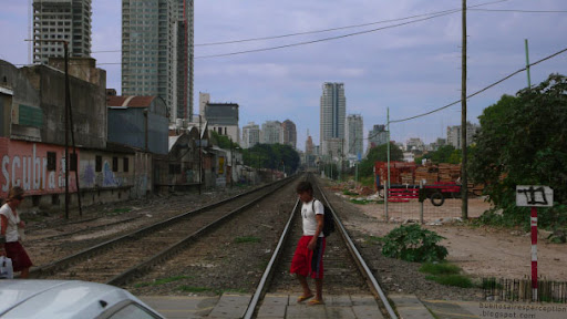 Railroad tracks serving as dividing line between Palermo Soho and Palermo Hollywood in Buenos Aires, Argentina