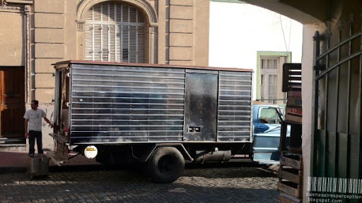 Silver Ice Delivery Truck in the Streets of Buenos Aires, Argentina