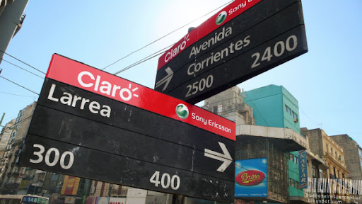 These street name signs in Buenos Aires are proudly presented by Claro and Sony Ericsson