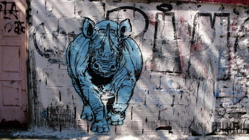 Grafitti Mural Rhinoceros Launching an Attack in Buenos Aires, Argentina