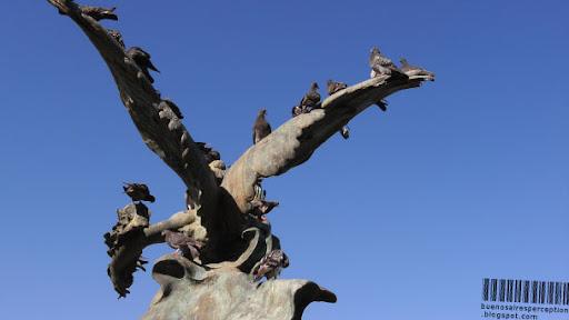 Pigeons Have Conquered a Bird Monument in the Parque del Centenario in Buenos Aires, Argentina