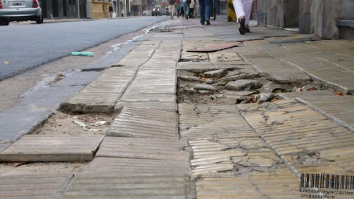 Potholes and Cracked Sidewalks are Buenos Aires' specialty, Argentina
