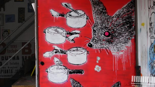 Pressure Cooker Instruction Graffiti and Foxy Stencil in a Gallery Adjunct to the Hollywood in Cambodia Cafe in Buenos Aires, Argentina