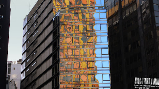 Distorted Mosaic Reflection on a Modern Glass Facade of an Office Building in Buenos Aires, Argentina