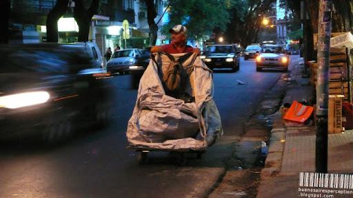 Cartonero, Waste Hauler Collecting Cardboard in Buenos Aires, Argentina