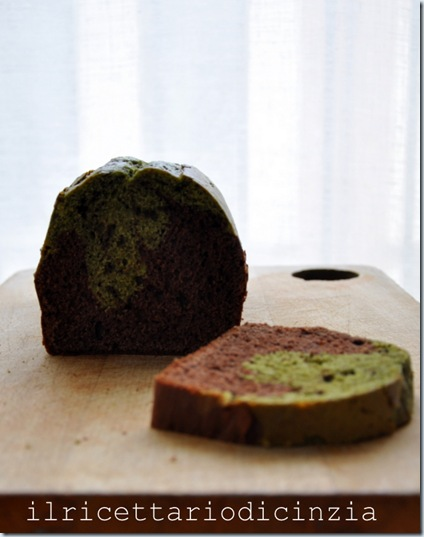 Plum cake al cacao e the matcha