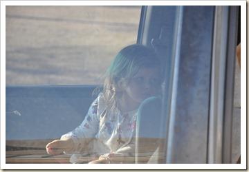 Lillian in the car.
