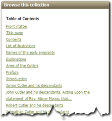 Table of Contents of a book on Ancestry.com