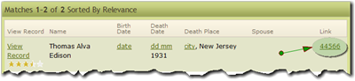 Search results from Ohio Obituary Index results on Ancestry.com