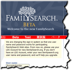 Common login is gradually coming to all FamilySearch websites